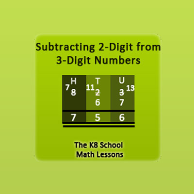 Subtraction 3-digit take away 2-digit with borrowing method Subtraction 3-digit take away 2-digit with borrowing method