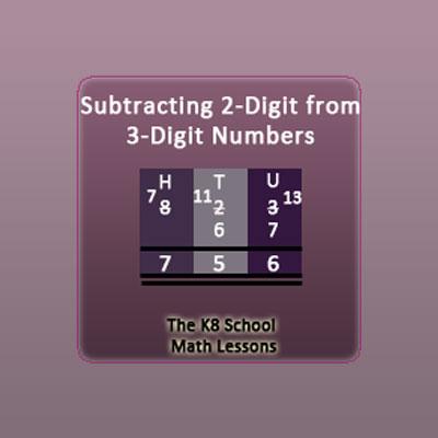 3-digit take away 2-digit with borrowing method 3-digit take away 2-digit with borrowing method