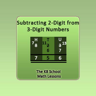 2-digit from 3-digit Subtraction with borrowing method 2-digit from 3-digit Subtraction with borrowing method