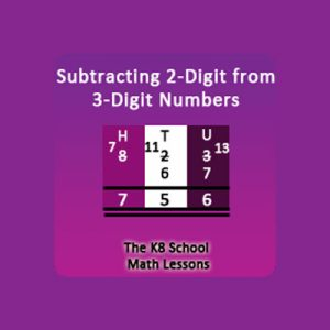Key Stage Two Take away 2-digit from 3-digit with borrowing method