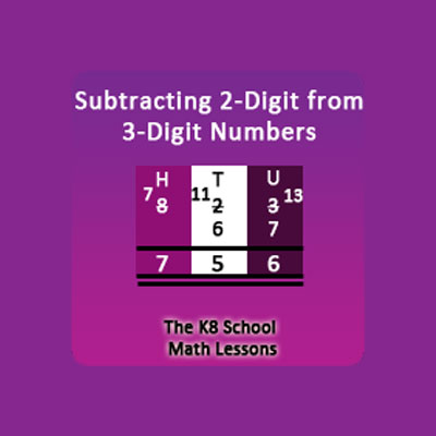 Take away 2-digit from 3-digit with borrowing method Take away 2-digit from 3-digit with borrowing method
