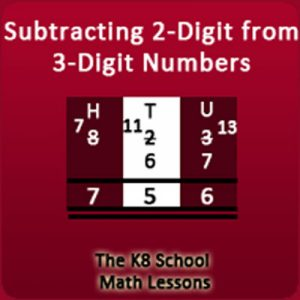 Key Stage Two Take away 2-digit from 3-digit numbers with borrowing method
