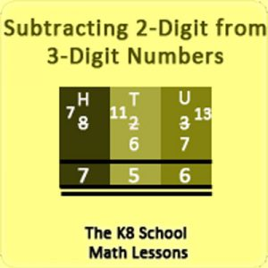 Take away 2-digit from 3-digit numbers with Regrouping Take away 2-digit from 3-digit numbers with Regrouping