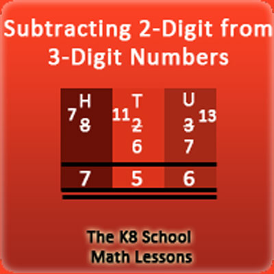Subtracting 2-digit from 3-digit with borrowing method Subtracting 2-digit from 3-digit with borrowing method