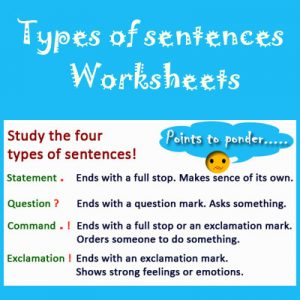Adjectives Worksheets 2 Types of sentences Worksheets