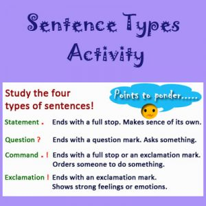 Adjectives Worksheets 2 Sentence Types Activity