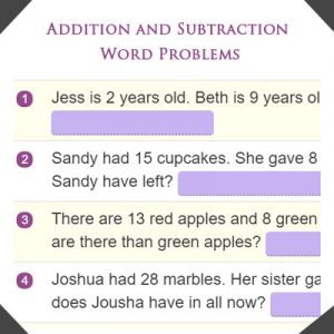 Ordinal Numbers Quiz 4 Addition and Subtraction Word Problems