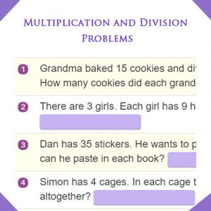Ordinal Numbers Quiz 4 Multiplication and Division Problems