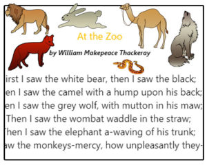 Subject and Predicate of a Sentence Poetry Comprehension – At the Zoo