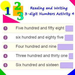 Key Stage One Reading and Writing 3-digit Numbers Activity 4