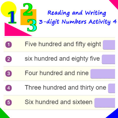 reading and writing 3 digit numbers activity 4 2nd grade 3 digit numbers. Black Bedroom Furniture Sets. Home Design Ideas