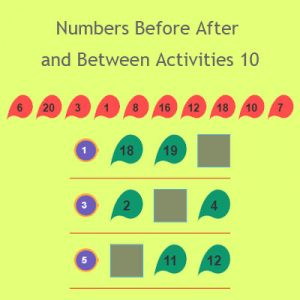 Numbers Before After and Between Activities 10
