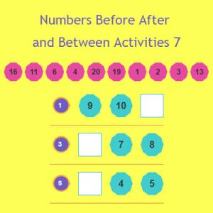 Numbers Before After and Between Activities 7 Numbers Before After and Between Activities 7