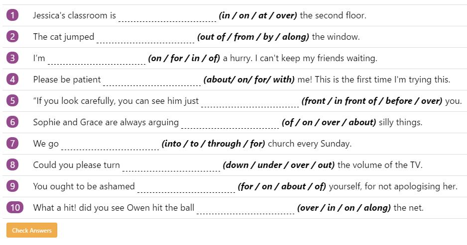 Prepositions - English Grammar - Activity 7