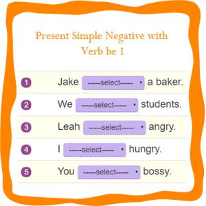 Present Simple Negative with Verb be 1 Present Simple Negative with Verb be 1