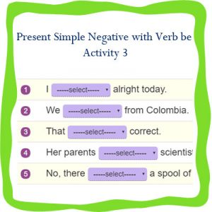 Present Simple Negative with Verb be 3 Present Simple Negative with Verb be 3