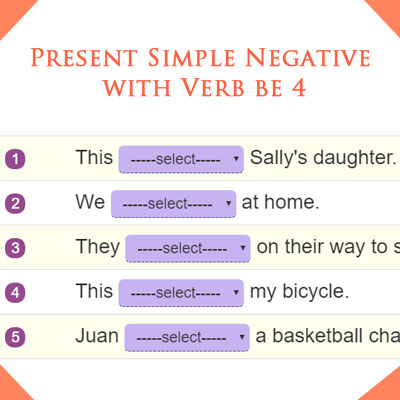 Present Simple Negative with Verb be 4 Present Simple Negative with Verb be 4