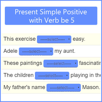 Present Simple Positive with Verb be 5