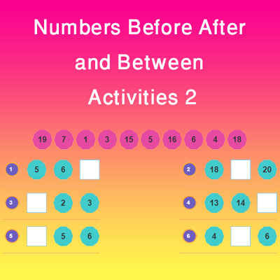 Numbers Before After and Between Activities 2 Numbers Before After and Between Activities 2