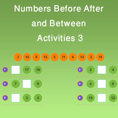 Numbers Before After and Between Activities 3 Numbers Before After and Between Activities 3