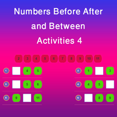 Numbers Before After and Between Activities 4 Numbers Before After and Between Activities 4