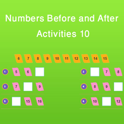 Numbers Before and After Activities 10 Numbers Before and After Activities 10