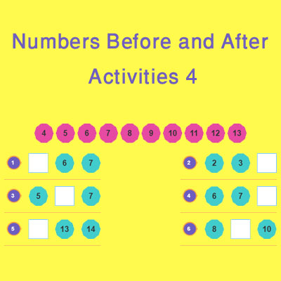 Numbers Before and After Activities 4 Numbers Before and After Activities 4