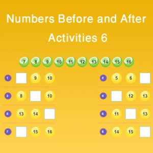 Numbers Before and After Activities 6 Numbers Before and After Activities 6