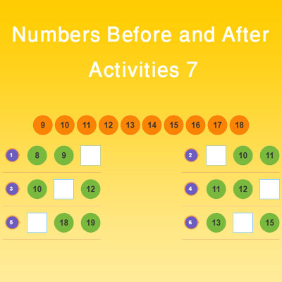 Numbers Before and After Activities 7 Numbers Before and After Activities 7