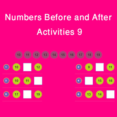 Numbers Before and After Activities 9 Numbers Before and After Activities 9
