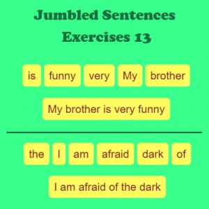Subject and Predicate of a Sentence Jumbled Sentences Exercises 13