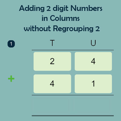 Adding 2 digit Numbers in Columns without Regrouping 2 Adding 2 digit Numbers in Columns without Regrouping 2