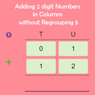 Adding 2 digit Numbers in Columns without Regrouping 5 Adding 2 digit Numbers in Columns without Regrouping 5