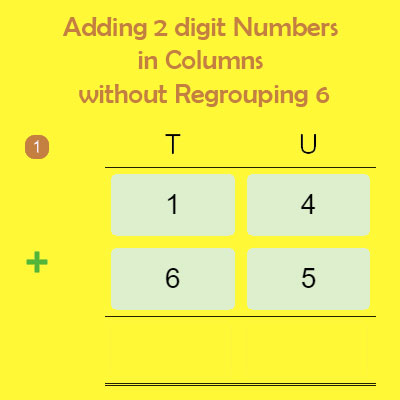 Adding 2 digit Numbers in Columns without Regrouping 6 Adding 2 digit Numbers in Columns without Regrouping 6