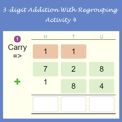 3-digit Addition With Regrouping Activity 4