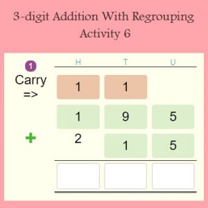 3-digit Addition With Regrouping Activity 6