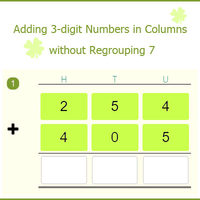 Adding 3-digit Numbers in Columns without Regrouping 7