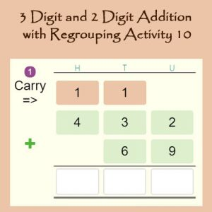 Key Stage Two 3 Digit and 2 Digit Addition with Regrouping Activity 10