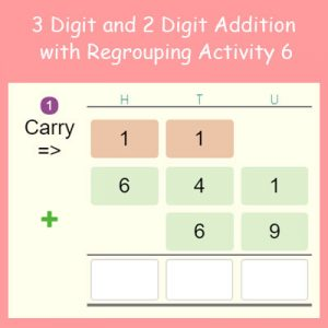 Key Stage Two 3 Digit and 2 Digit Addition with Regrouping Activity 6