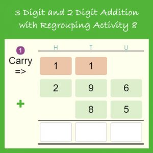 Key Stage Two 3 Digit and 2 Digit Addition with Regrouping Activity 8