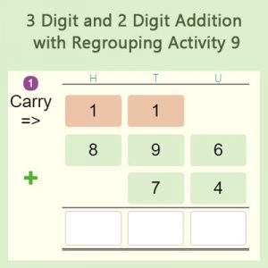 Key Stage Two 3 Digit and 2 Digit Addition with Regrouping Activity 9