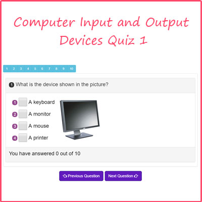 Computer Input and Output Devices Quiz 1 | Computer Devices Examples