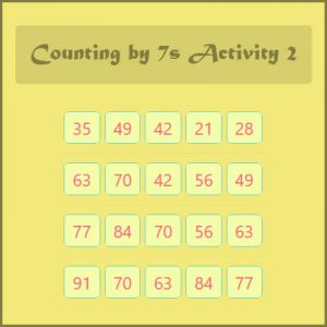 Key Stage Two Counting by 7s Activity 2