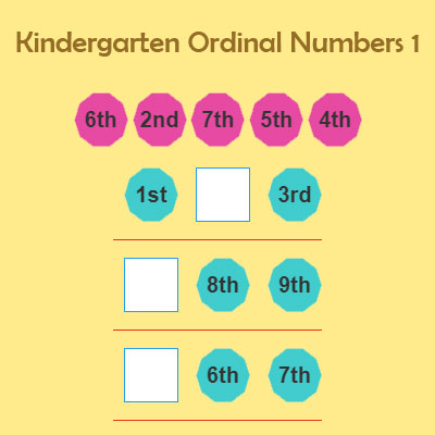 Kindergarten Ordinal Numbers 1