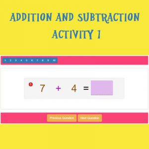 Addition and Subtraction Activity 1 Addition and Subtraction Activity 1