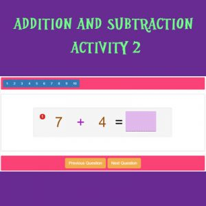 Addition and Subtraction Activity 2 Addition and Subtraction Activity 2
