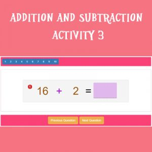 Addition and Subtraction Activity 3 Addition and Subtraction Activity 3