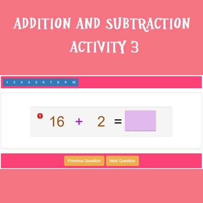 Addition and Subtraction Activity 3