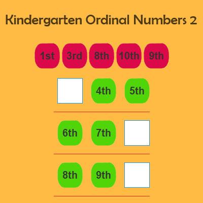 Kindergarten Ordinal Numbers 2
