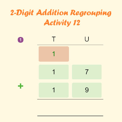 2 Digit Addition Regrouping Activity 12